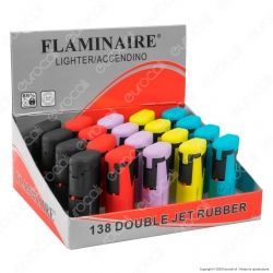Flaminaire Paris Accendino Double Jet Rubber Soft Touch Antivento - Box da 20 Accendini