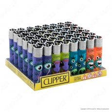 Clipper Large Colore Traslucido Fantasia Monster Weed 2 - Box da 48 Accendini