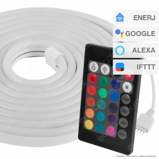 Ener-J Kit LED Neon Flex Strip Light Smart Wi-Fi 12V RGB IP65 - Bobina da 3 metri - mod. SHA5297