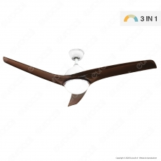 V-Tac VT-6055-3 Ventilatore da Soffitto 35W con Lampada LED 15W 3in1 Changing Color e Telecomando - SKU 7920