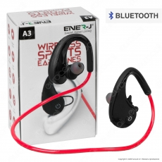 Ener-J Wireless Sports Earphones Coppia di Auricolari Bluetooth con Batteria Ricaricabile IPX4 Colore Nero - mod. A3
