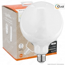 iDual Lampadina LED E27 Filament 9W Globo G125 Changing Color Dimmerabile in Vetro Bianco - mod. JE0181130