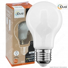 iDual Lampadina LED E27 Filament 9W Bulb A60 Changing Color Dimmerabile in Vetro Bianco - mod. JE0126130