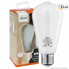 iDual Lampadina LED E27 Filament 9W Bulb ST64 Changing Color Dimmerabile in Vetro Bianco - mod. JE0186130