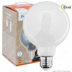 iDual Lampadina LED E27 Filament 9W Globo G95 Changing Color Dimmerabile in Vetro Bianco - mod. JE0189130