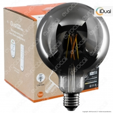 iDual Lampadina LED E27 Cross Filament 9W Globo G125 Changing Color Dimmerabile in Vetro Oscurato - mod. JE0181730
