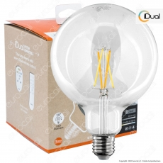 iDual Lampadina LED E27 Cross Filament 9W Globo G125 Changing Color Dimmerabile in Vetro - mod. JE0181930