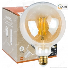 iDual Lampadina LED E27 Cross Filament 9W Globo G125 Changing Color Dimmerabile in Vetro Ambrato - mod. JE0181630