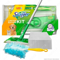 Swiffer Kit Limited Edition Scopa con 8 panni catturapolvere e Manico Duster con 1 Piumino
