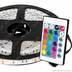 Sure Energy Striscia LED Bobina 5 Metri 12V 14,4W 60 LED/metro Multicolore RGB Dimmerabile IP65 - mod. T445