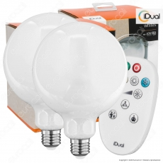 Kit iDual 2 Lampadine LED E27 Filament 9W Globo G125 Changing Color Dimmerabile in Vetro Bianco con Telecomando
