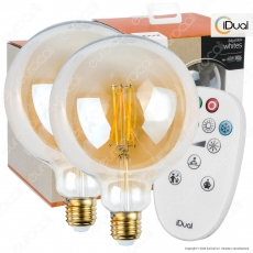 Kit iDual 2 Lampadine LED E27 Cross Filament 9W Globo G125 Changing Color Dimmerabile in Vetro Ambrato con Telecomando