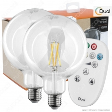 Kit iDual 2 Lampadine LED E27 Cross Filament 9W Globo G125 Changing Color Dimmerabile in Vetro con Telecomando