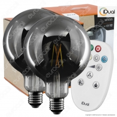Kit iDual 2 Lampadine LED E27 Cross Filament 9W Globo G125 Changing Color Dimmerabile in Vetro Oscurato con Telecomando