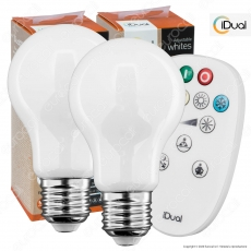 Kit iDual 2 Lampadine LED E27 Filament 9W Bulb A60 Changing Color Dimmerabile in Vetro Bianco con Telecomando