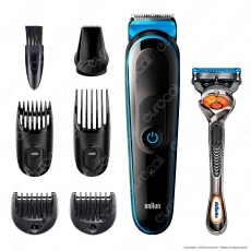 Braun All in One Trimmer 5 Rifinitore Multiuso Uomo 7in1 con Rasoio Gillette ProgGlide Flexball