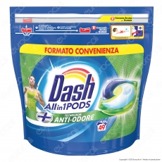 Dash All in 1 Pods Anti Odore Detersivo in Capsule - Confezione da 49 Pastiglie
