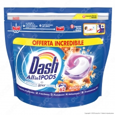 Dash All in 1 Pods all'Ambra Detersivo in Capsule - Confezione da 62 Pastiglie