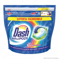 Dash All in 1 Pods Salvacolore Detersivo in Capsule - Confezione da 70 Pastiglie