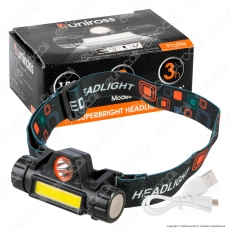 Uniross Torcia Frontale Headlight 1W 3W Ultra Luminosa 2 Modalità di Illuminazione
