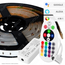 V-Tac VT-5050 Kit con Striscia LED VT-5050 4in1 Multicolore RGB+W 5mt Controller e Alimentatore - SKU 2628