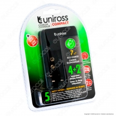 Uniross Caricabatterie Compact 4+2 per Batterie Ricaricabili AA / HR6 - AAA / HR03 - 9V / PP3 e Cavo Micro USB