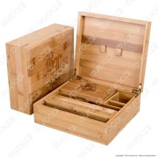 Stoner Box II Stazione di Rollaggio Skull in Bamboo - Black Leaf