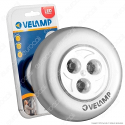 Velamp IL12 Mini Push Light 3 LED a Batteria con Accensione a Pressione - mod.IL12